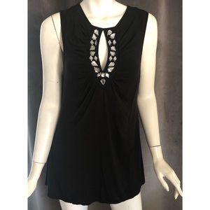 Moda International Black Embellished Key hole top